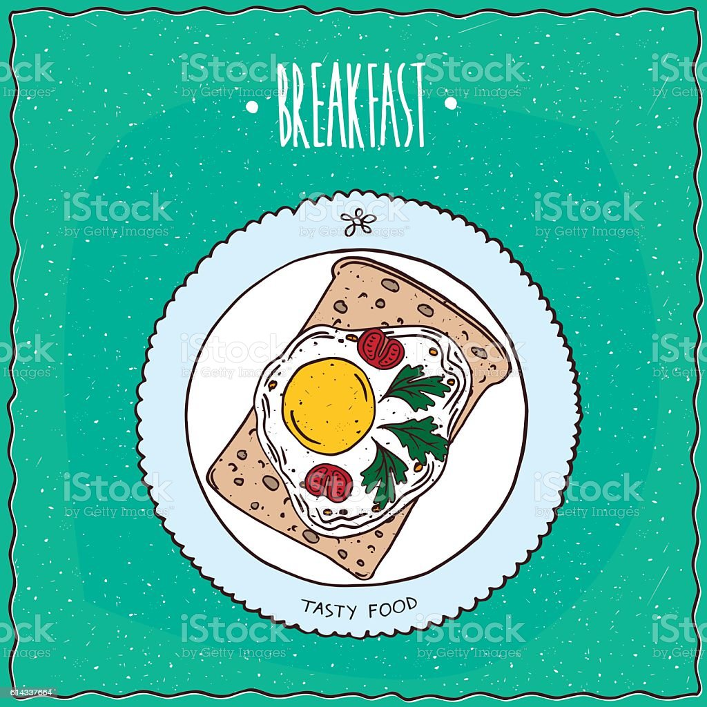 Top view on toast with fried eggs vector art illustration