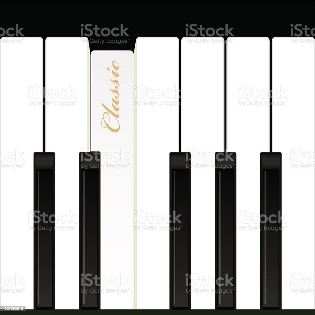 Top view piano keys. Musical instrument. Vector illustration. vector art illustration