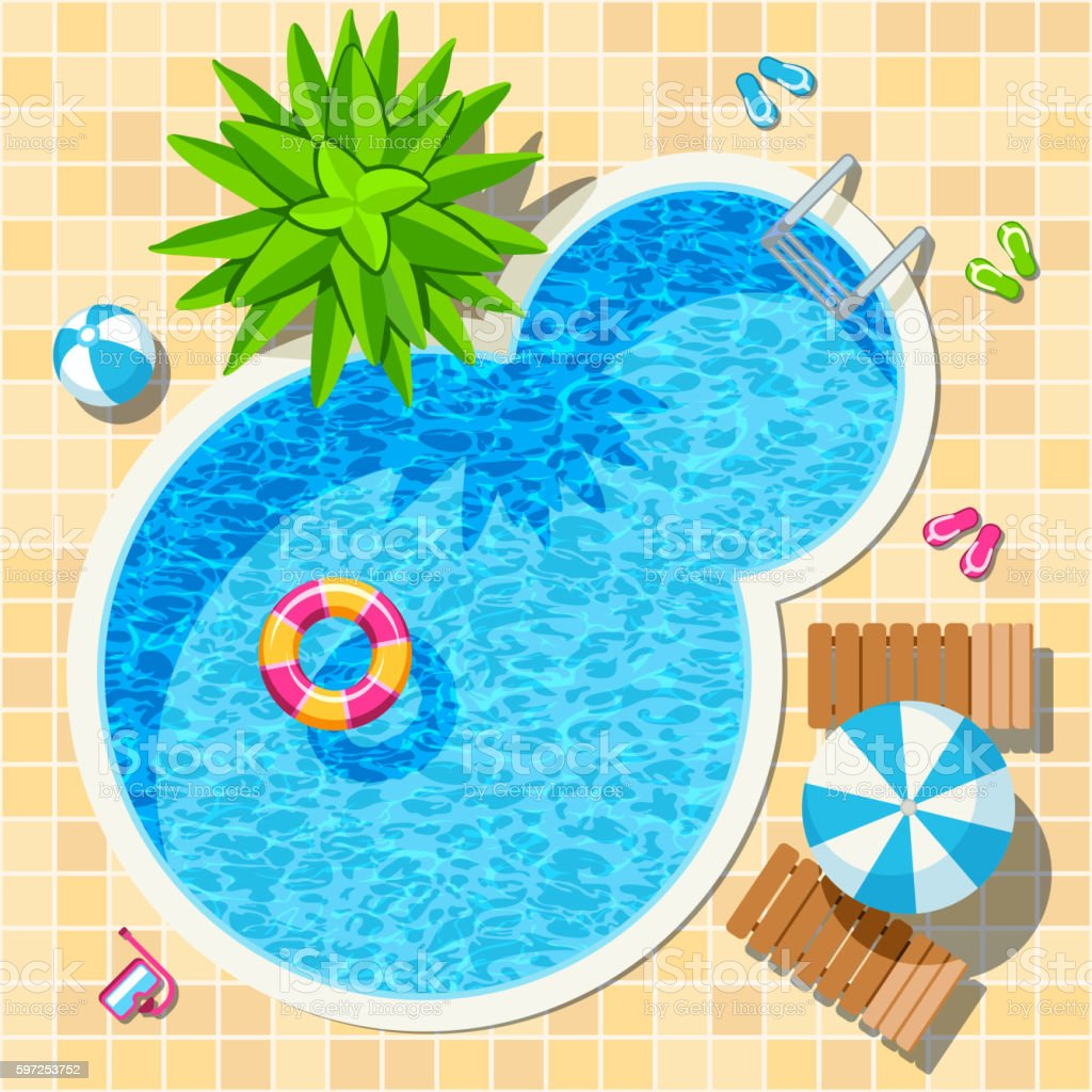 Top view relax swimming pool vector vector art illustration