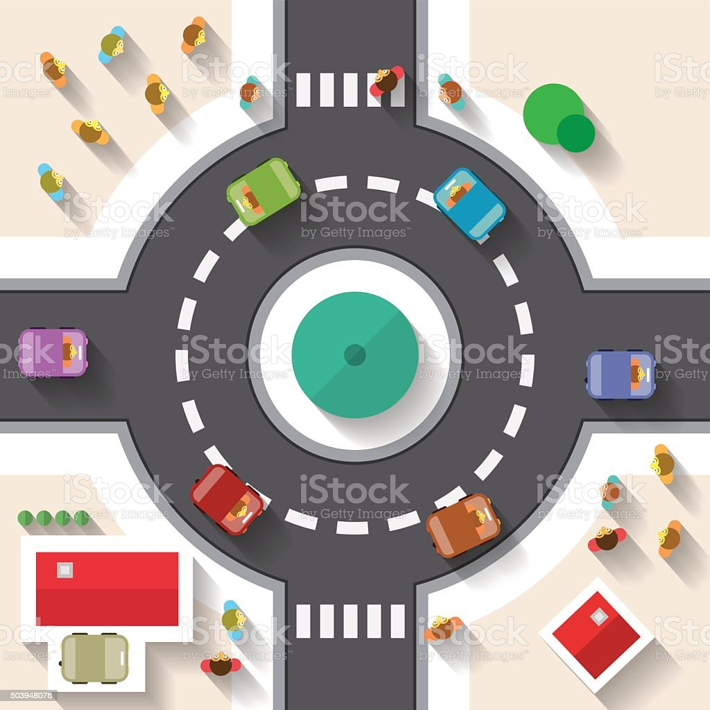 Top View Street Roundabout with Cars vector art illustration