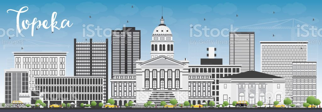 Topeka Skyline with Gray Buildings and Blue Sky. vector art illustration