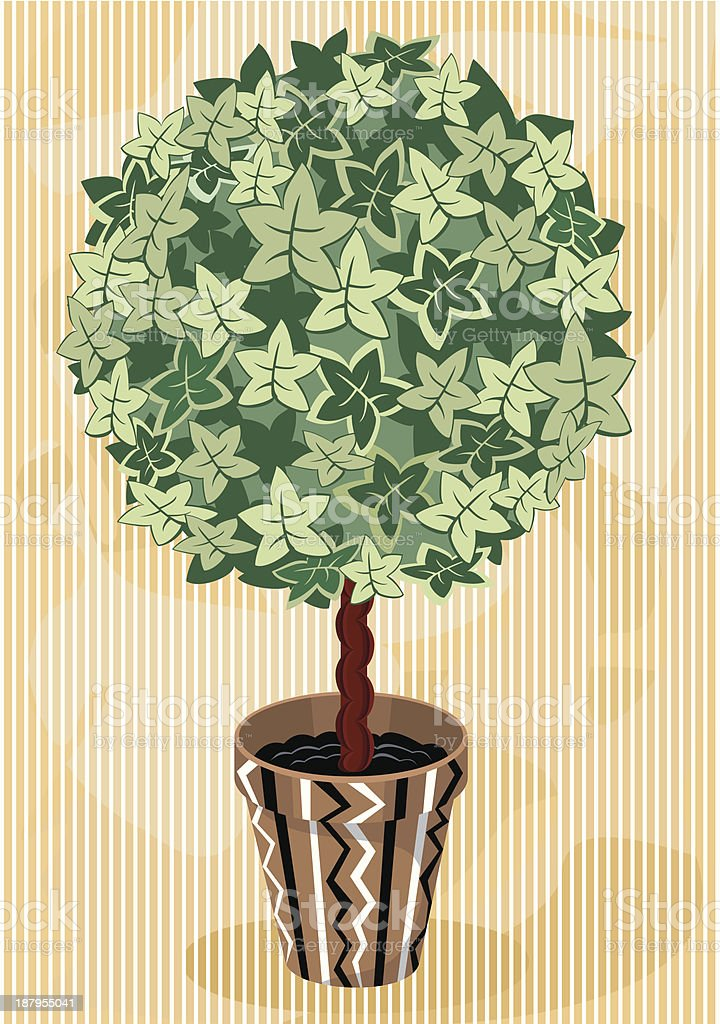 Topiary Tree in decorative flowerpot royalty-free stock vector art