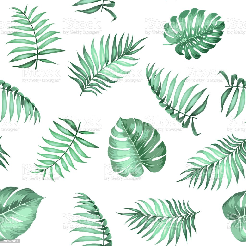 Topical palm leaves pattern. vector art illustration