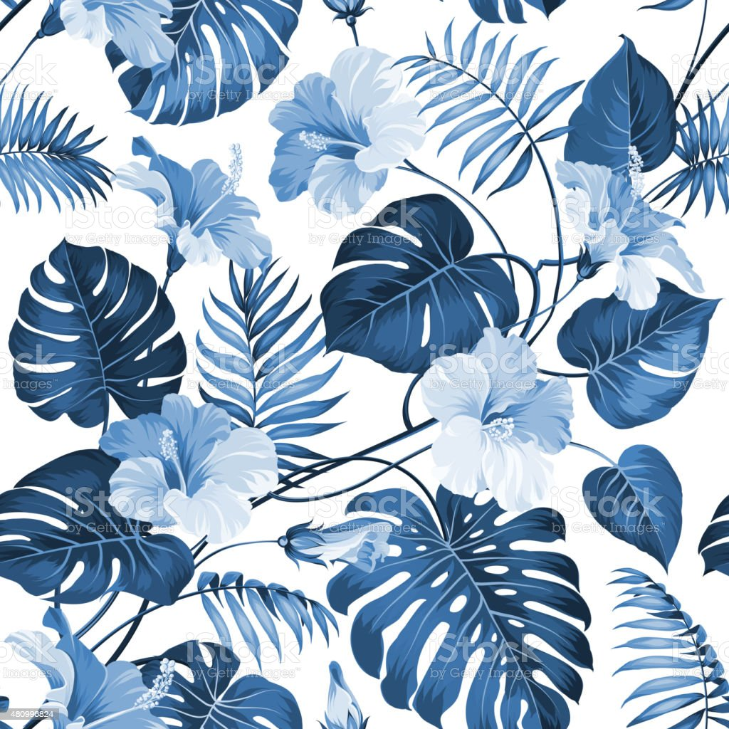 Topical palm leaves vector art illustration