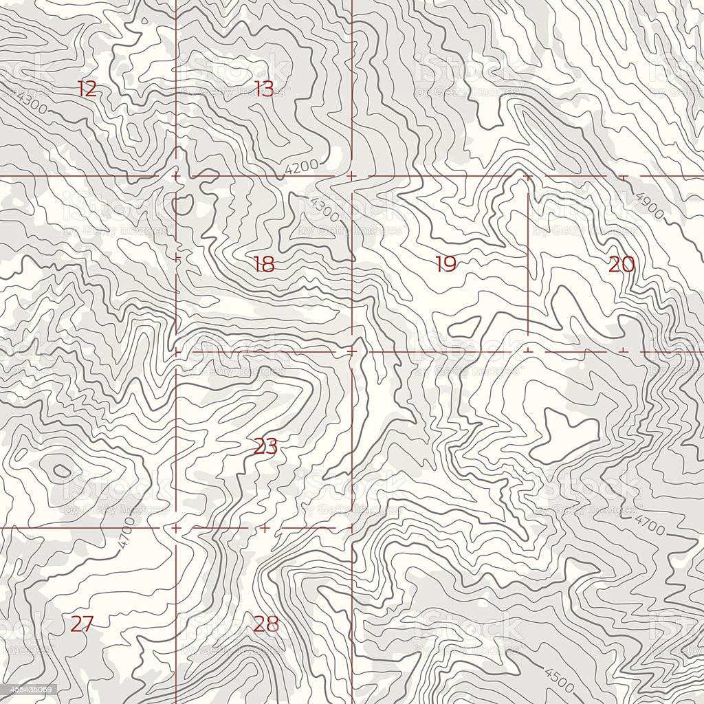 Topographic Boundary Map vector art illustration