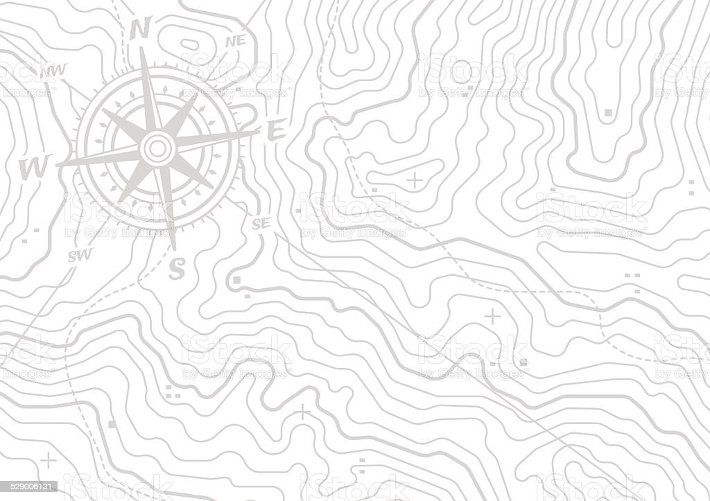 Topographic Compass Map Background vector art illustration