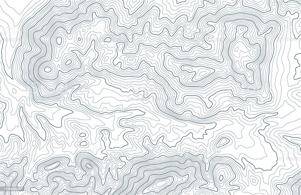 Topographic contour lines in mountainous terrain vector art illustration