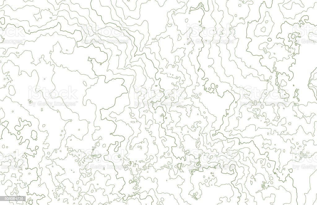 Topographic contours in hilly terrain vector art illustration