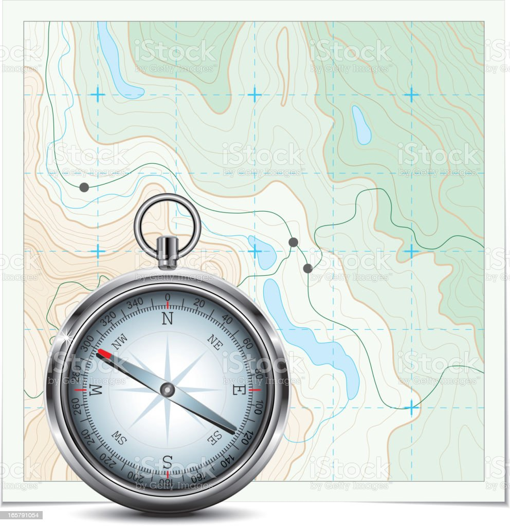 Topographic map and compass royalty-free stock vector art