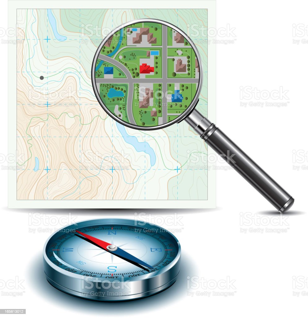 Topographic Map, Magnifying Glass and Compass royalty-free stock vector art