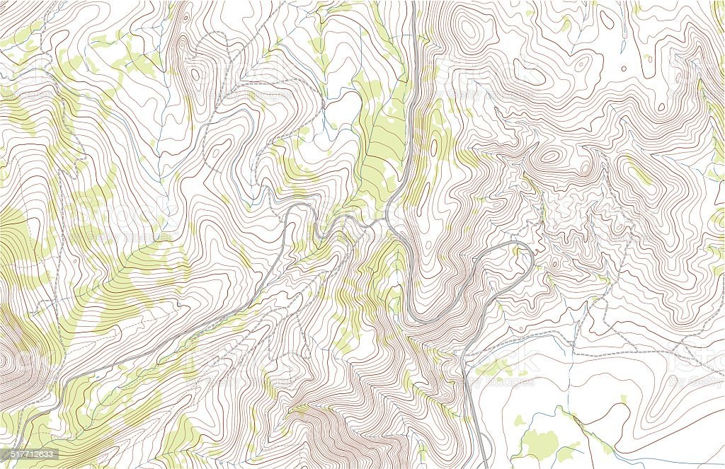 Topographic map with roads and forest vector art illustration