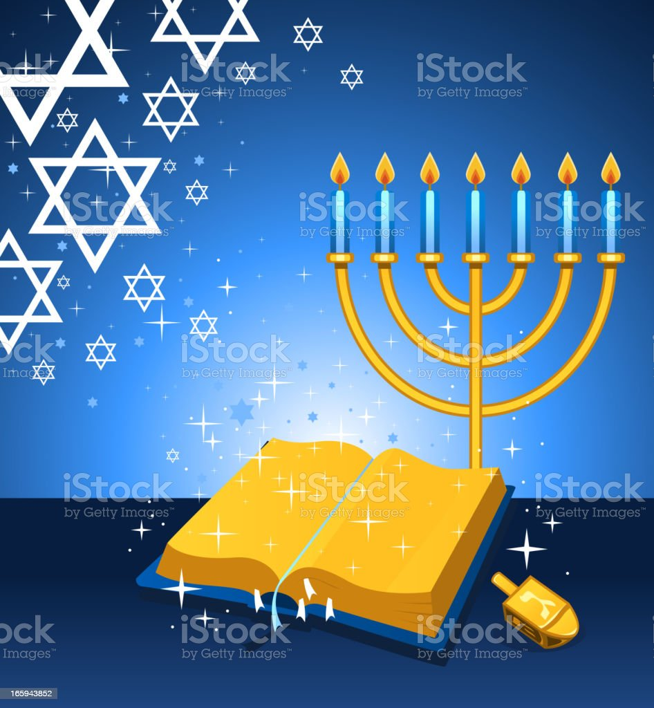 Torah and Menorah royalty-free stock vector art