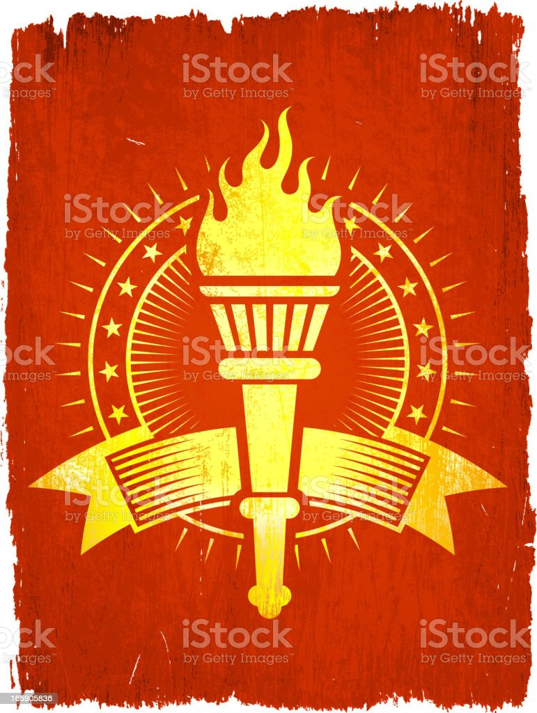Torch Badge on royalty free vector Background royalty-free stock vector art
