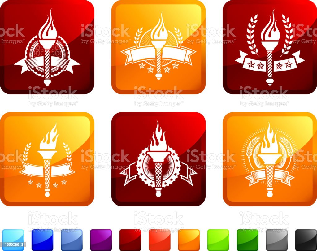 Torch Badges royalty free vector icon set stickers vector art illustration
