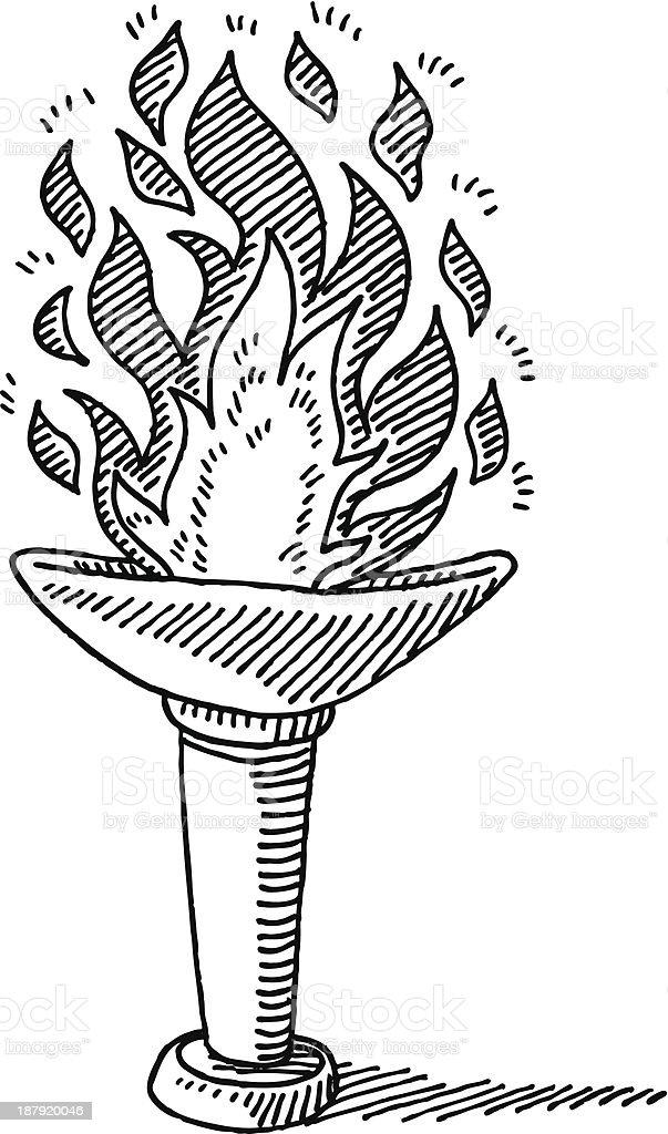 Torch Burning Fire Drawing vector art illustration