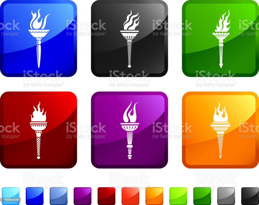 Torch royalty free vector icon set stickers vector art illustration
