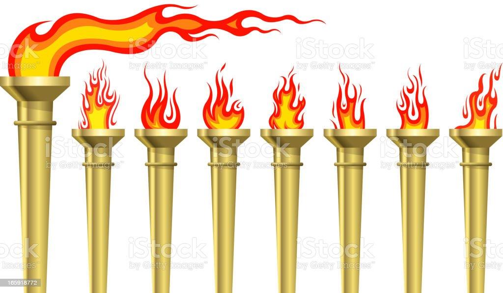 Torch set vector art illustration