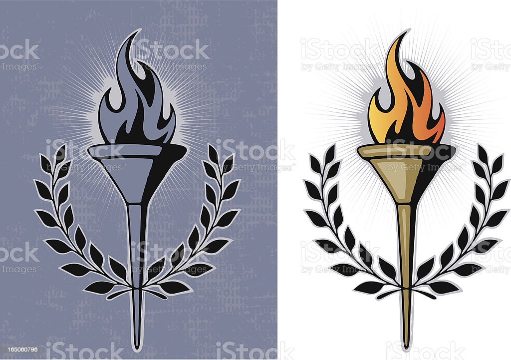 Torch with Laurel royalty-free stock vector art