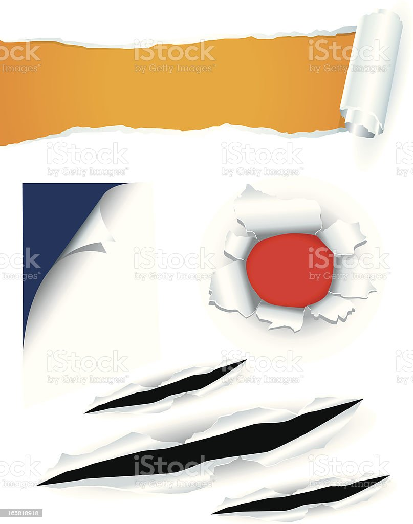 Torn cutting curled paper set vector art illustration