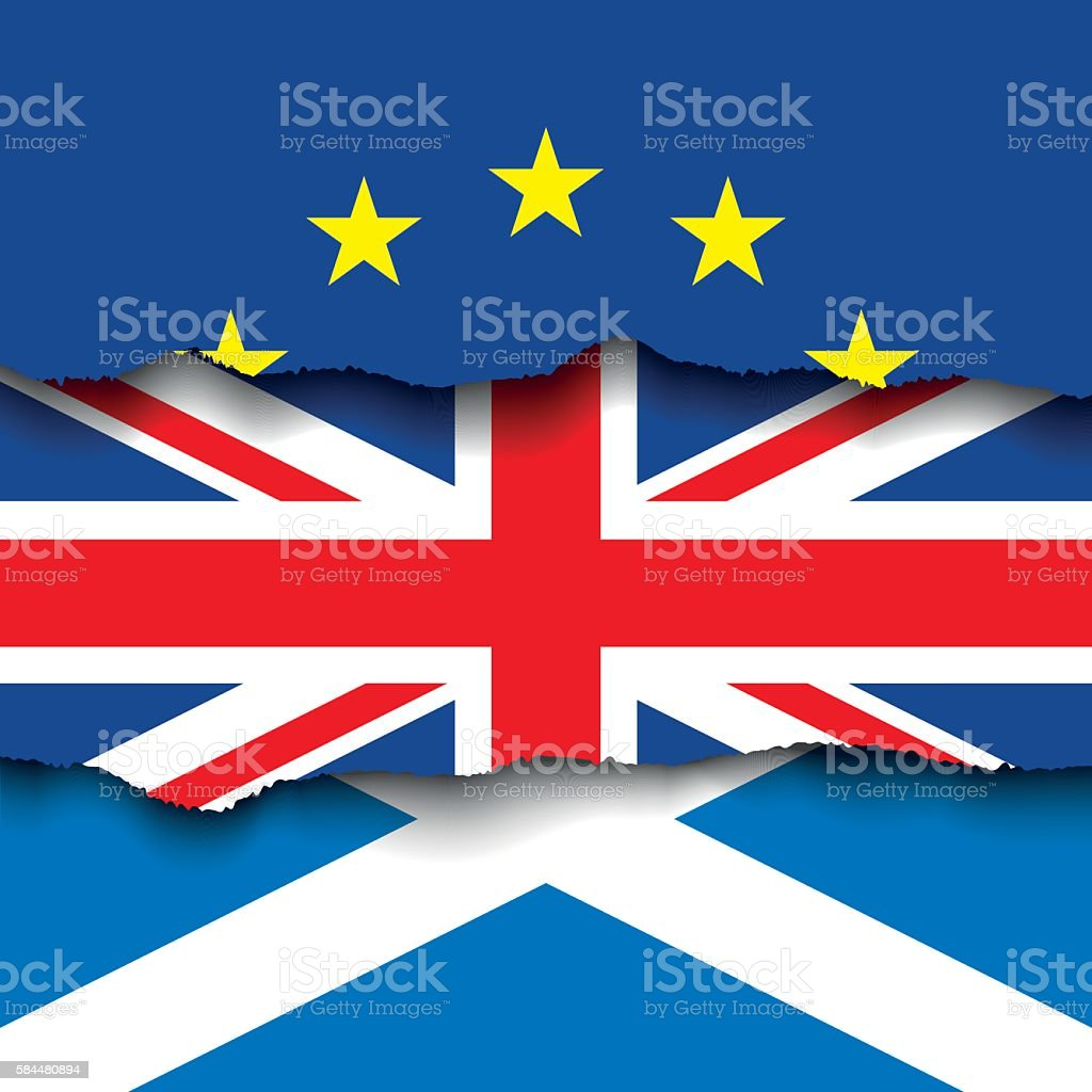 Torn flag of EU over flag of UK and Scotland vector art illustration