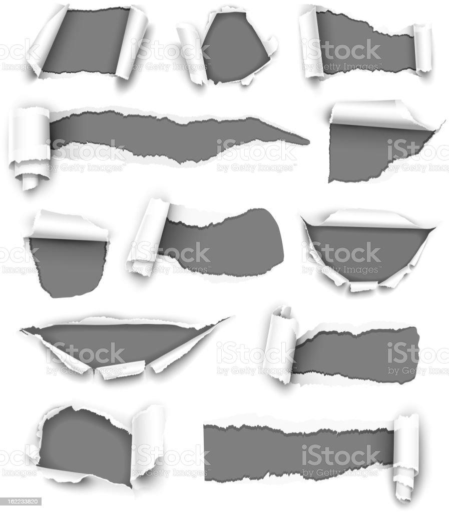 Torn gray paper vector art illustration
