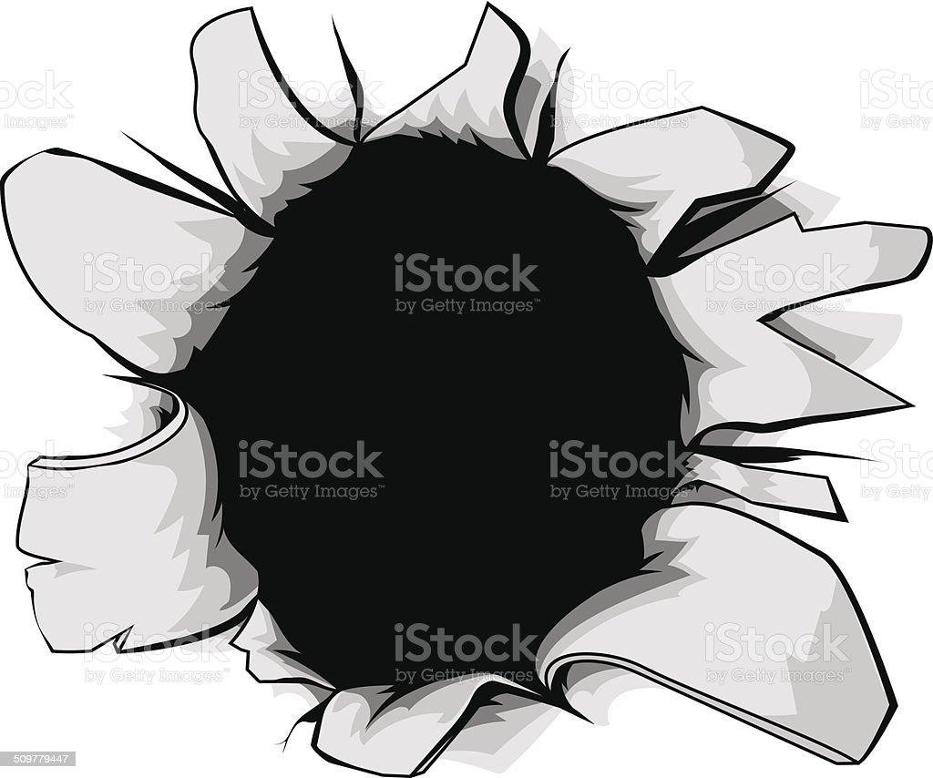 Torn hole vector art illustration