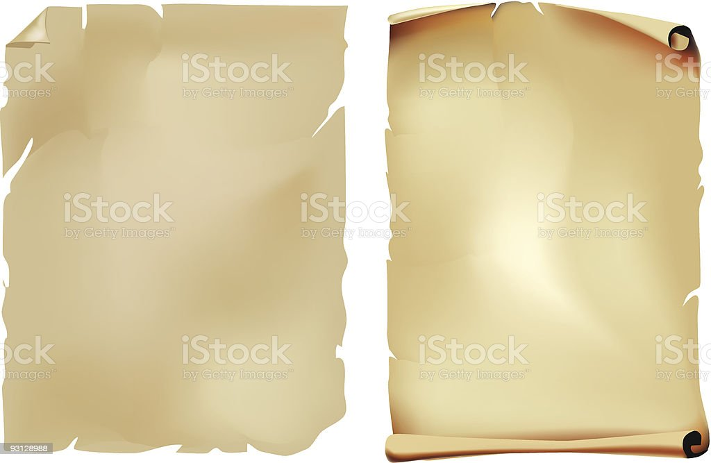 Torn page of manuscript separated and an open blank scroll royalty-free stock vector art