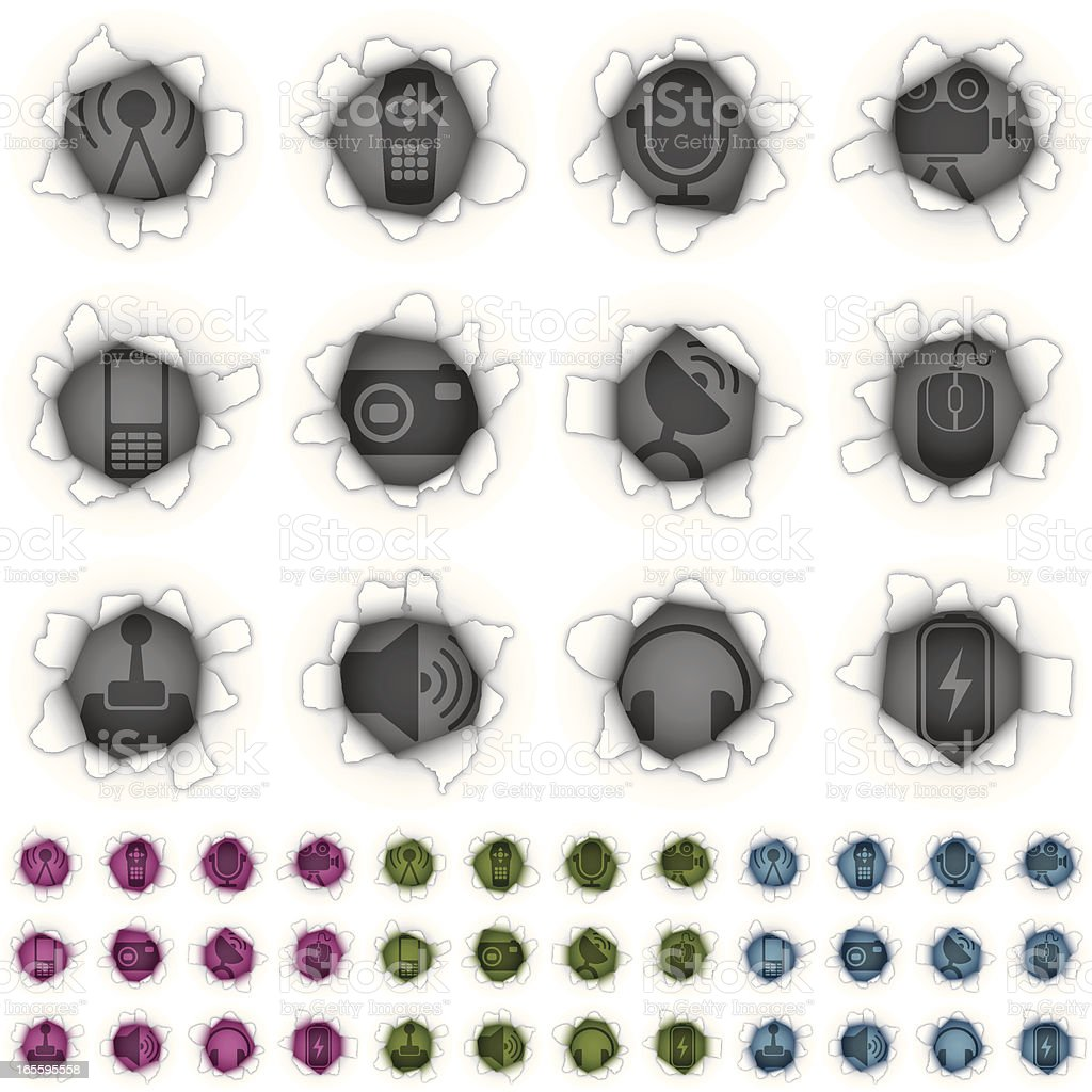 torn paper equipment icons royalty-free stock vector art