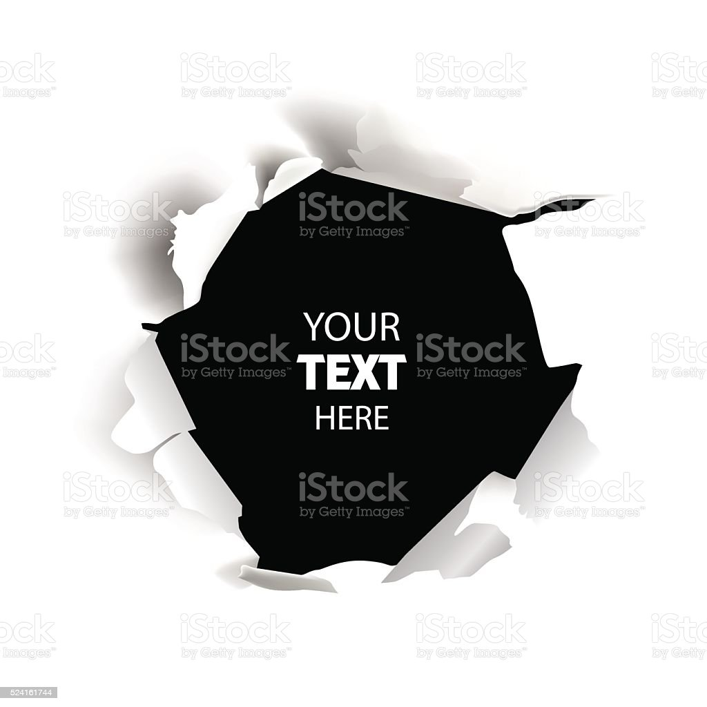 Torn paper. Hole in the sheet of white paper vector art illustration