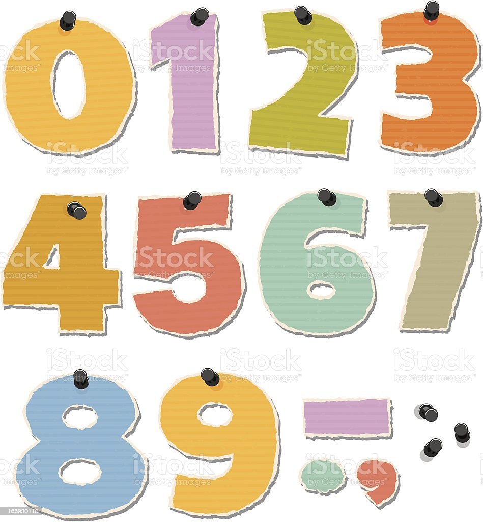 Torn Paper Numbers royalty-free stock vector art
