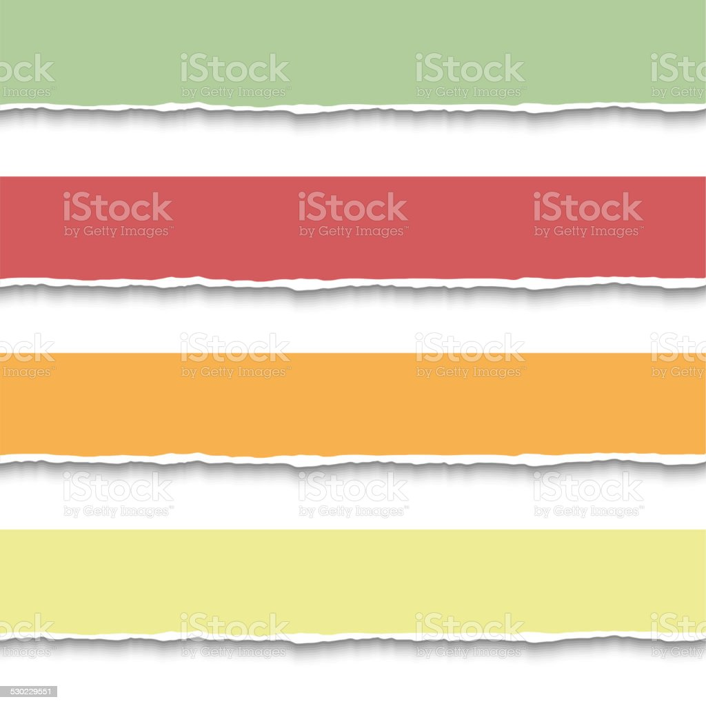 Torn paper pieces banners vector art illustration