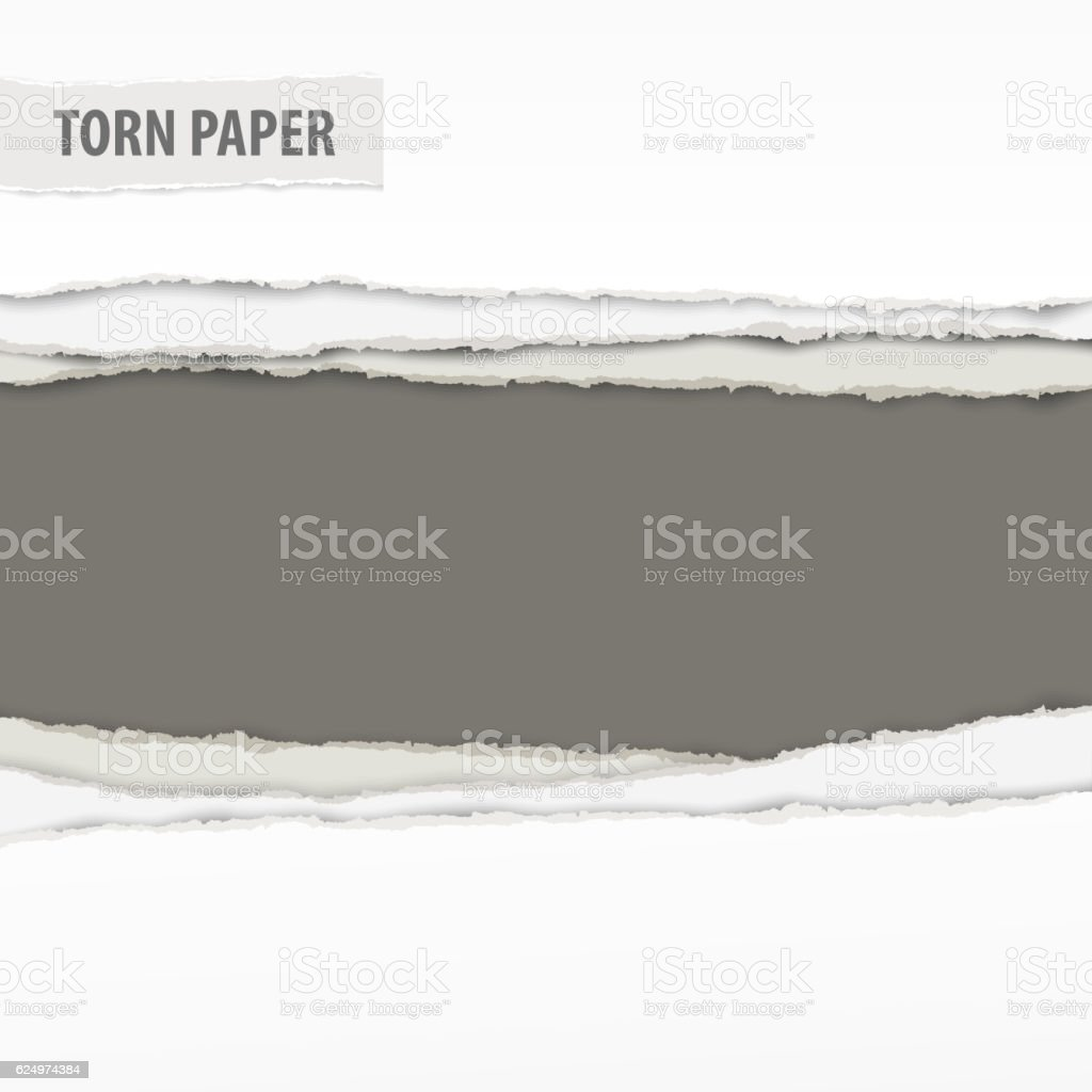 Torn paper pieces on grey vector art illustration