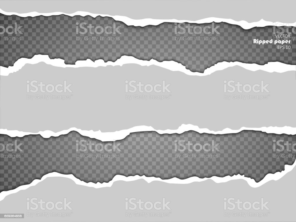 Torn paper sheet, ripped paper edges isolated on transparent background vector art illustration