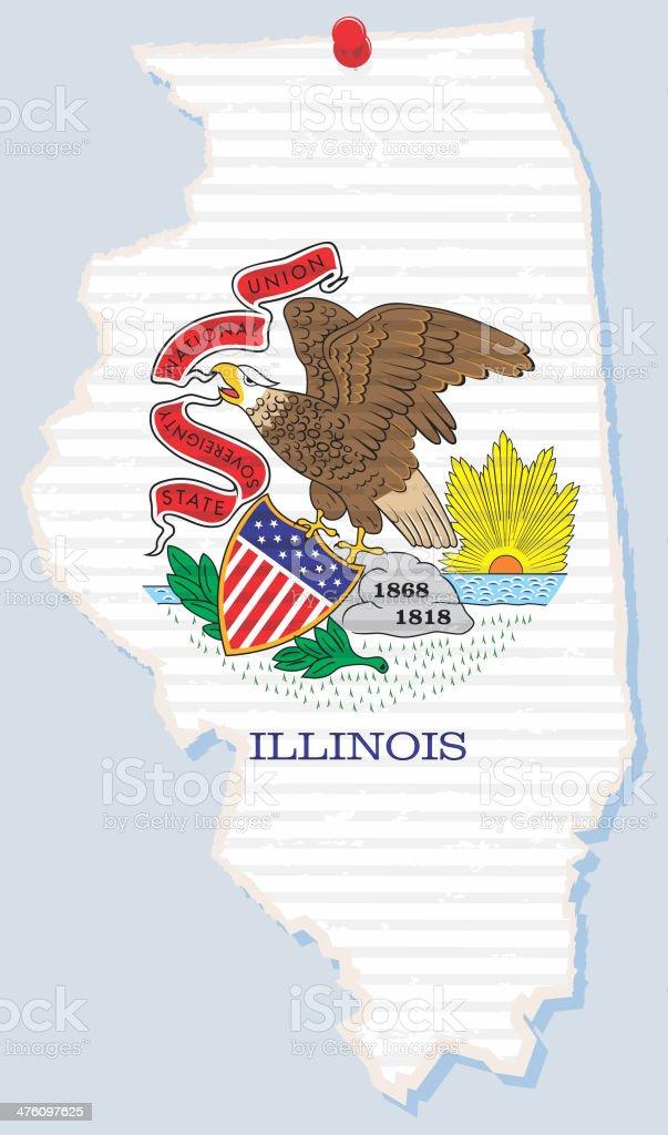 Torn paper state of Illinois vector art illustration