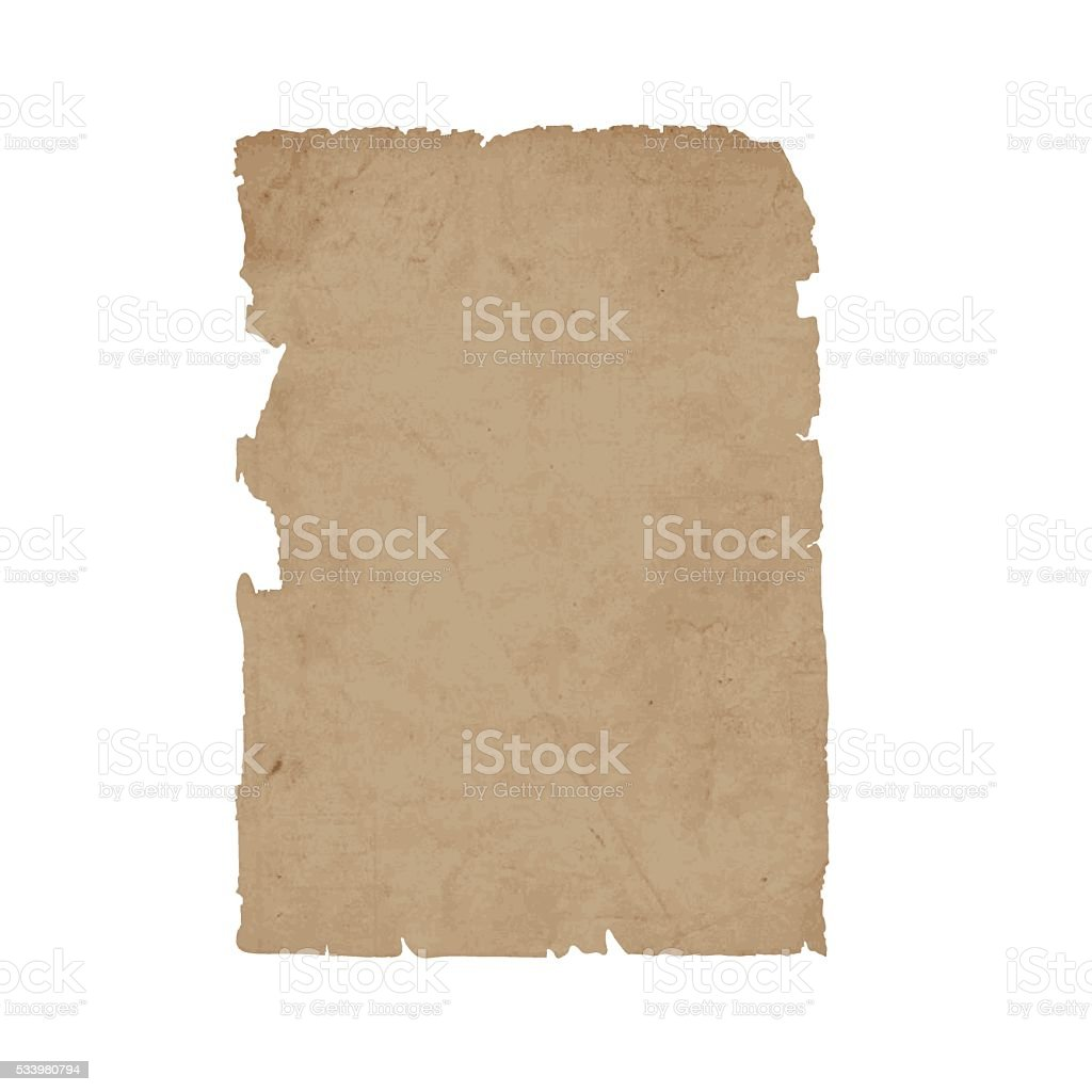 Torn sheet old paper vector art illustration