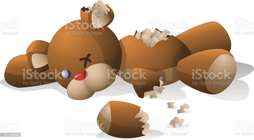 Torn teddy bear royalty-free stock vector art