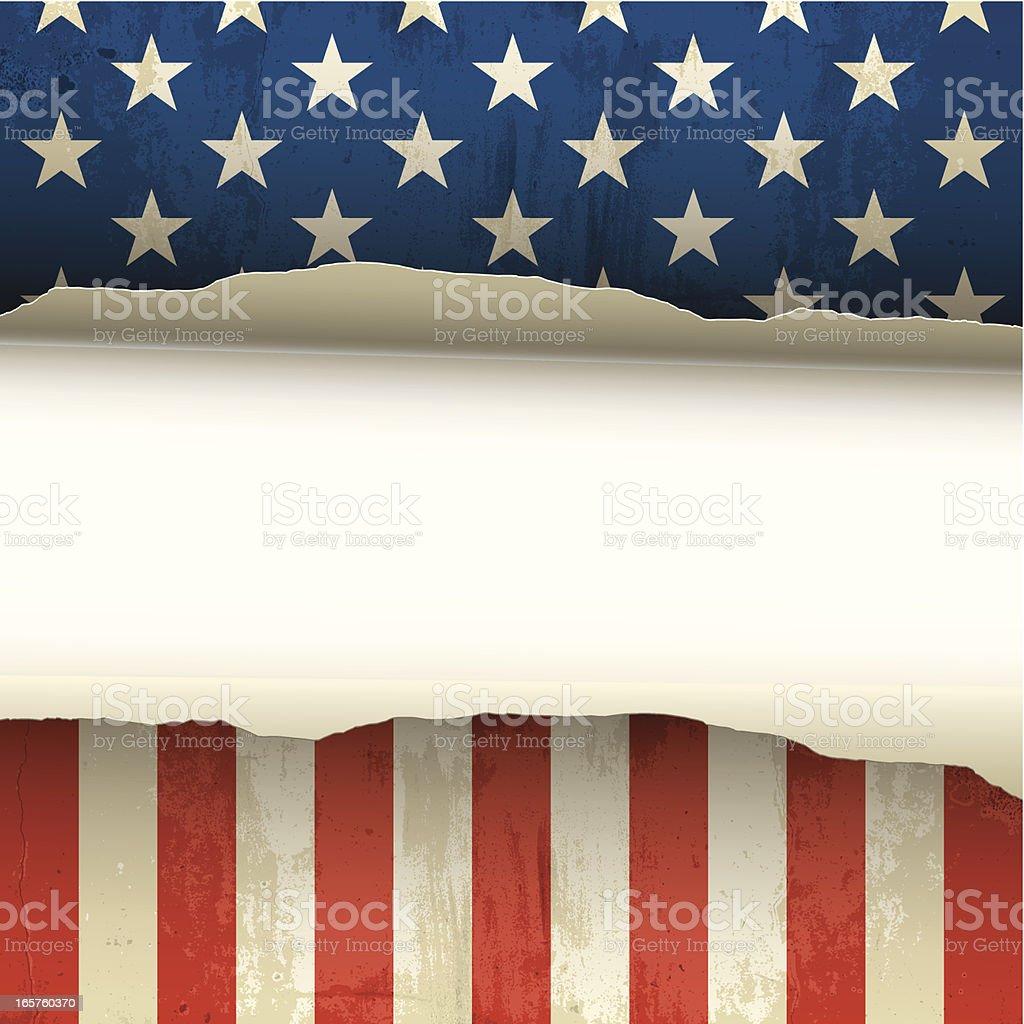 Torn USA flag royalty-free stock vector art