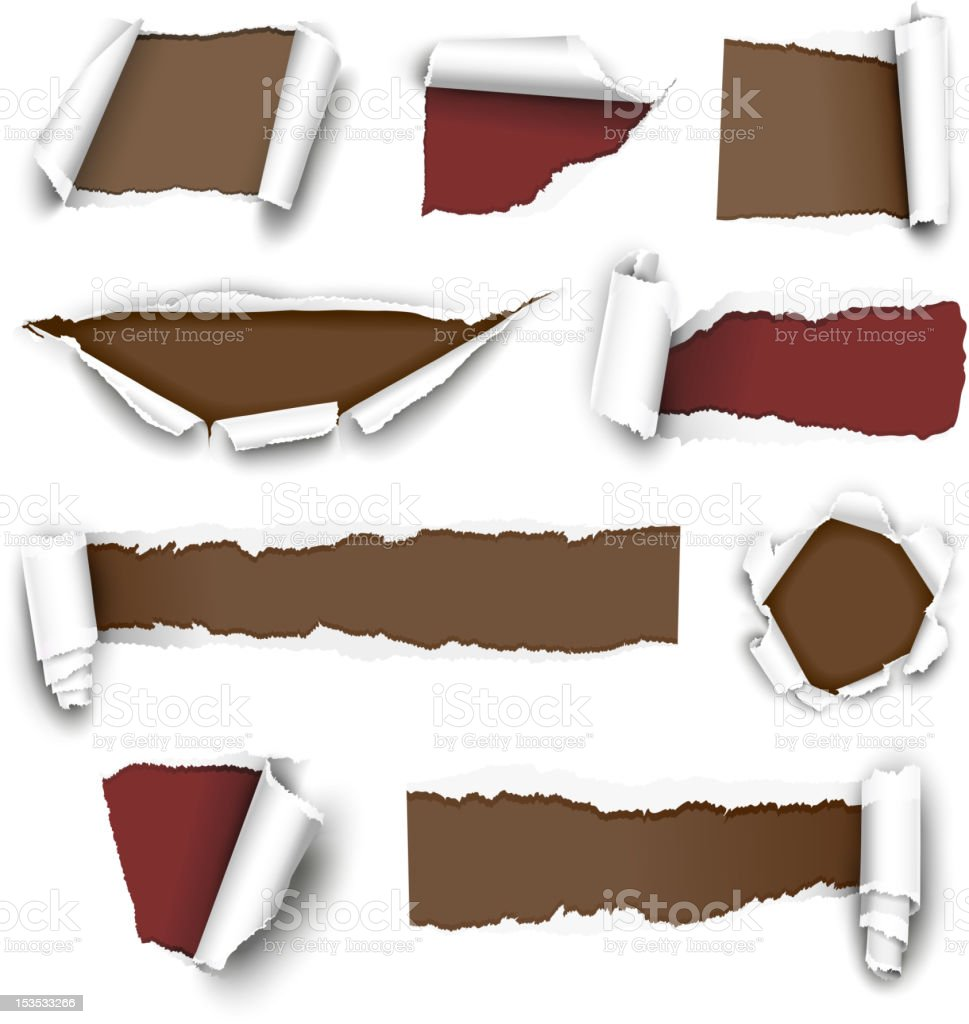 Torn white paper sheet with red and brown backing vector art illustration