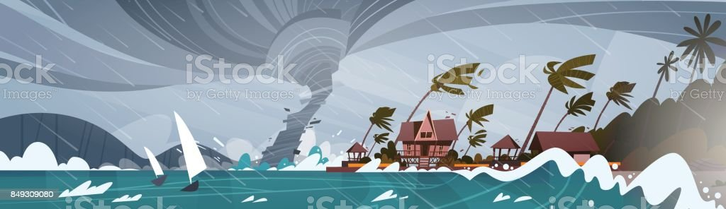 Tornado Incoming From Sea Hurricane In Ocean Huge Waves On Houses On Coast Tropical Natural Disaster Concept vector art illustration
