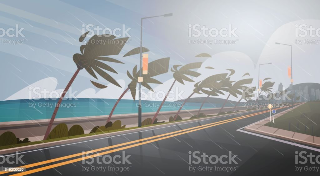 Tornado Incoming From Sea Hurricane In Ocean Huge Wind Over Palm Trees And Road Tropical Natural Disaster Concept vector art illustration