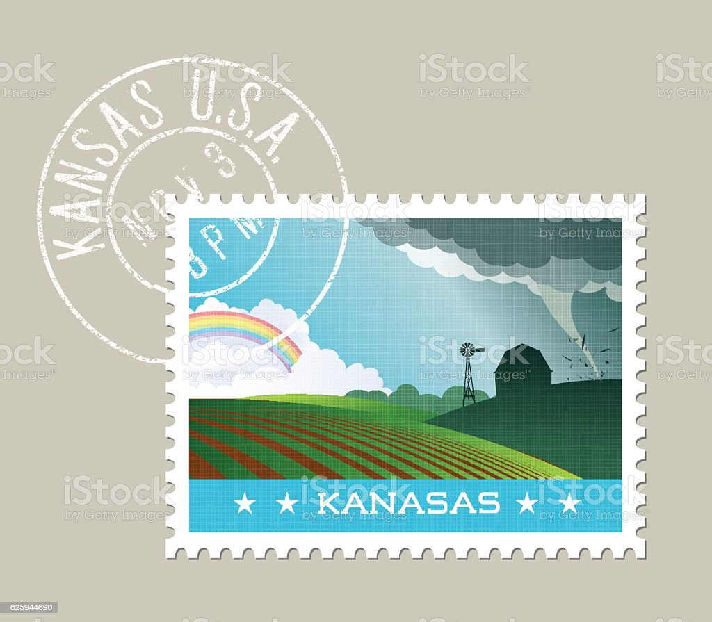 Tornado passing by farm and distant rainbow. Kansas, United States vector art illustration