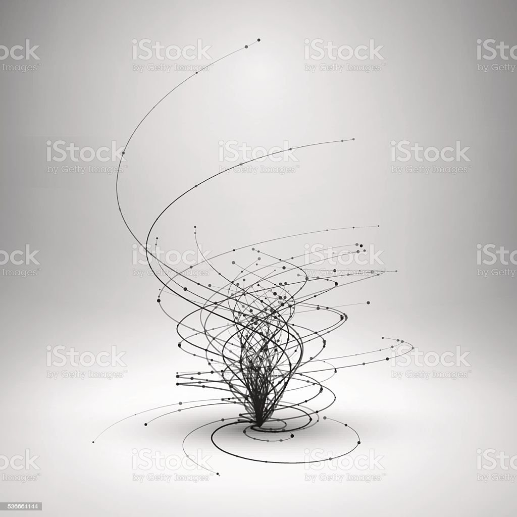 Tornado. Swirl with connected line and dots. vector art illustration