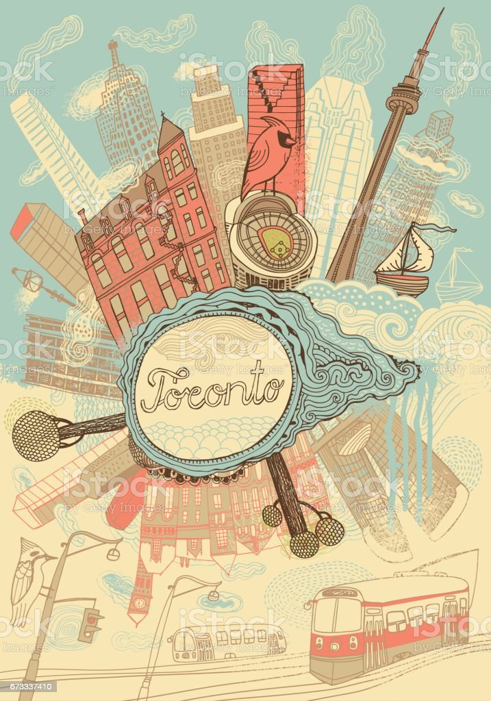 Toronto city in Canada vector art illustration