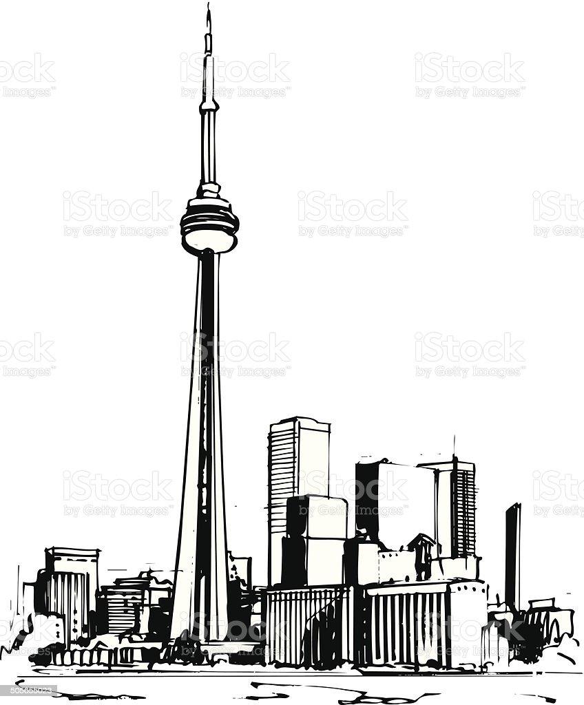 Toronto CN Tower Vector Cartoon Clipart vector art illustration