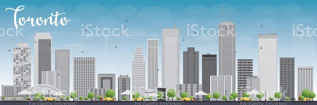 Toronto skyline with grey buildings and blue sky. vector art illustration