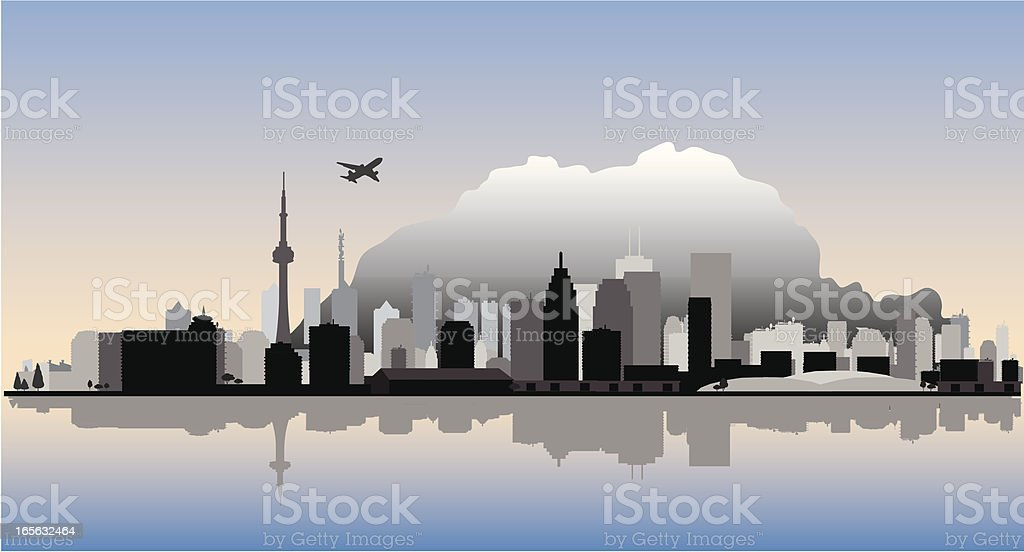 Toronto Vector Cityscape with Water Reflection royalty-free stock vector art