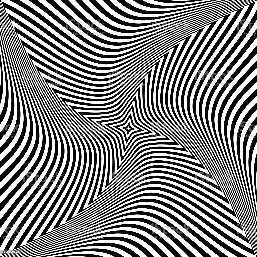 Torsion rotation movement. Abstract op art design. vector art illustration