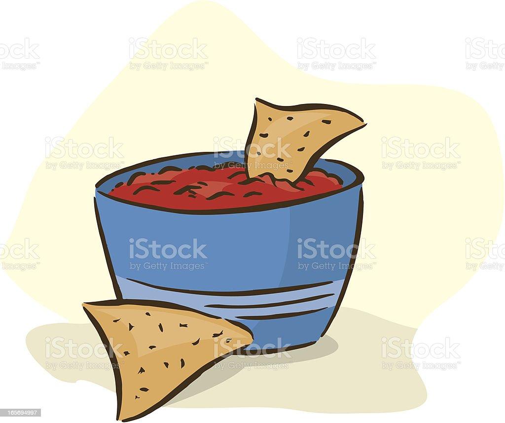 Tortilla Chips and Salsa - Junk Food, Snack vector art illustration