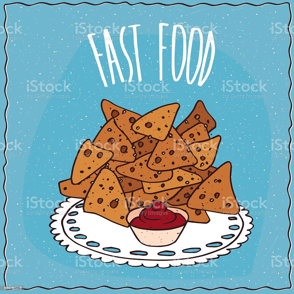 Tortilla chips known as nachos with condiment vector art illustration
