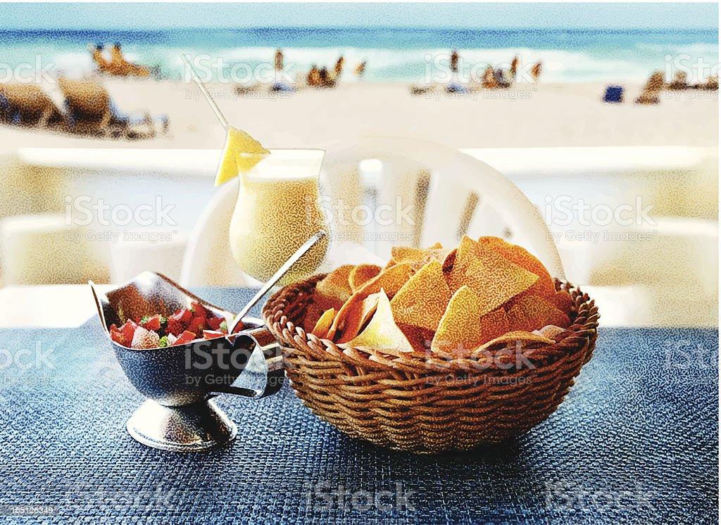 Tortilla Chips, Salsa and a Pina Colada at The Beach vector art illustration